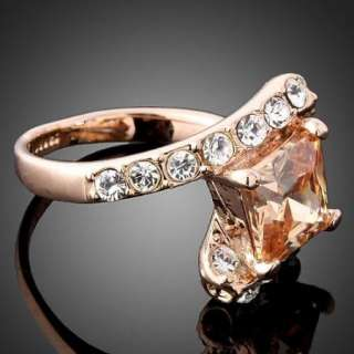 ARINNA Swarovski Crystal Cubic Topaz Rose Gold GP Ring