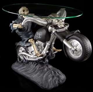Skelett Tisch   Skelett auf Motorrad Biker Skeleton Skull Table