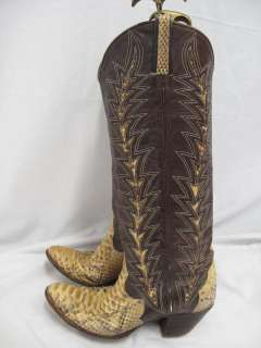 Dan Post Brown Leather/Cream Snakeskin Wood Heel Cowboy Boots 7A