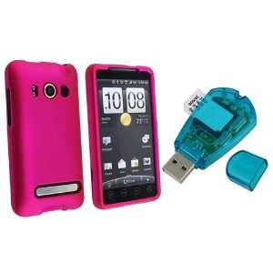 For HTC EVO 4G Hot Pink Rubberized Snap On Case + Sim Card