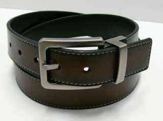 Cole Mens Reversible Brown Black Leather Casual Belt 1 3/8 Wide