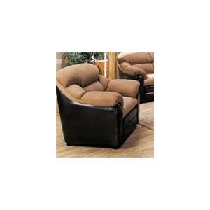 Taylor Chair in Mocha Microfiber/Dark Brown Faux Leather Cover
