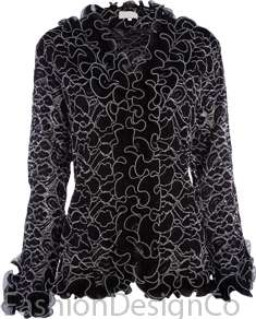 Lace Lined Frill Blouse Womens Crochet Long Sleeve Top Plus Szs 14 22