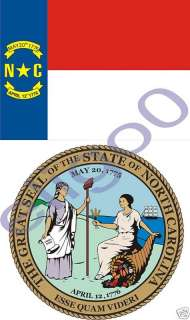 NORTH CAROLINA State Flag + SEAL 2 stickers decals USA