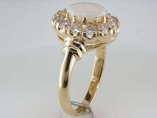 Vintage Antique Victorian 1.35ct Opal Diamond 14K Gold Engagement