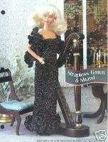 Crochet Fashion Doll Pattern STRAPLESS GOWN & SHAWL