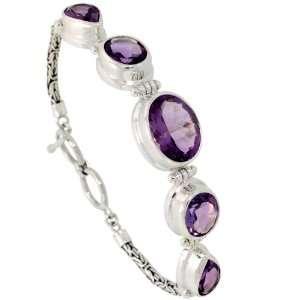 Sterling Silver Bali Style Byzantine Toggle Bracelet, w/ one Oval Cut