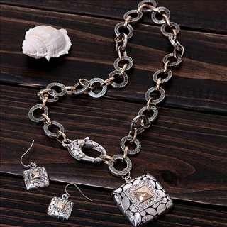 vintage antique style jewellery rhinestone choker pendant necklace