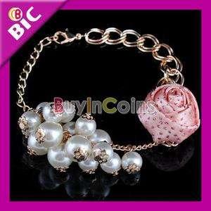 Fashion Cute Pearl Rose Flower Design Bangle Bracelet