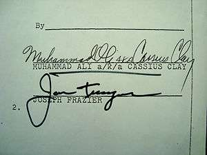 MUHAMMAD ALI v JOE FRAZIER I Original Contract Signed By Both Cassius