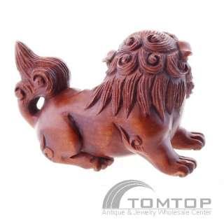 Hand Carved Boxwood Wood Netsuke Lucky Lion NBC166