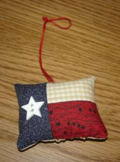SMALL TEXAS FLAG* ORNAMENT*WITH STAR BUTTON~LONE STAR