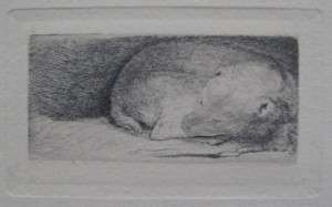 REMBRANDT Amand Durand Signed Etching SLEEPING PUPPY