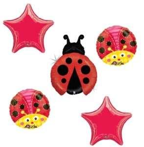 LADYBUG Lady Bug Birthday PARTY Mylar 5 BALLOONS Set
