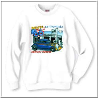 Rt 66 Kicks Hot Rods Car SWEATSHIRT S,M,L,XL,2X,3X,& 4X