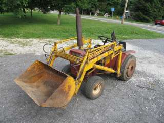 Wheel Horse GT14 tractor & Kwik Way Loader, w/ Wheel Weights