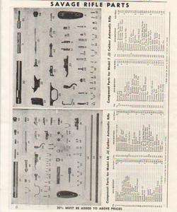 1952 Savage Model 6A & 7 RIFLE PARTS LIST Print Ad