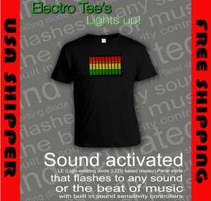 SOUND ACTIVATED LE LED TEE SHIRTS   LIGHTS UP TO SOUND OF MUSIC OR ANY