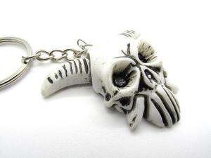 Tibet Yak Bone Evil Skull white Carved Amulet Key Ring
