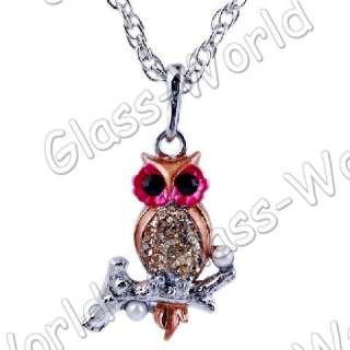 7strands Owl Rhinestone&Enamel&Imitate Pearl Pendant Necklaces TY0447