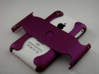 PURPLE 2 PIECE RUBBER FEEL ARMOR HARD PLASTIC CASE FOR APPLE IPHONE 3G