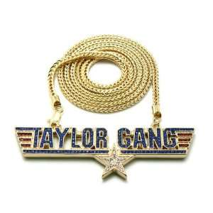 Iced Out Wiz Khalifas TAYLOR GANG STAR Air Force Anh?nger w/36