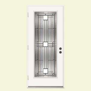 JELD WEN Cordova Impact 36 in. x 80 in. White Prehung Right Hand