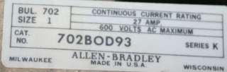 Allen Bradley NEMA SIZE 1 CONTACTOR 4 Pole 702 BOD93 702