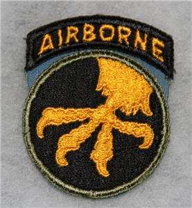 100% ORIGINAL WW2 US 17TH AIRBORNE PARATROOPER ONE PEICE PATCH NO GLOW