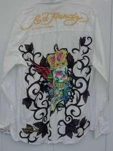 Printed & Embroidered Mens White Button down Shirt MEDIUM