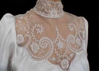 White CROCHET LACE WEDDING DRESS S M Peplum Waist Long Sleeve