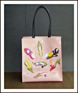 Museum of ART Pink Vinyl TOTE Bag PURSE Shoes Slippers Design