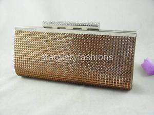 Brown Crystals Wedding/Party/Prom Purse Clutch Bag 3 Colors