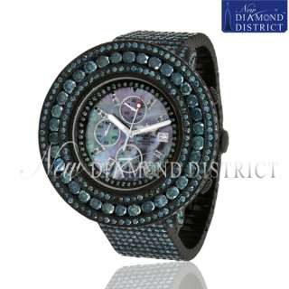 TOTAL ALL PAVE BLUE DIAMOND BREITLING SUPER AVENGER IN BLACK PVD WATCH
