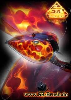 Flammendesign auf Ihrem Motorrad Tank Custom Paint von SK Brush