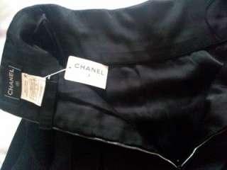 Chanel Navy Blue Silk/Satin Luxurious Fabulous Skirt   38
