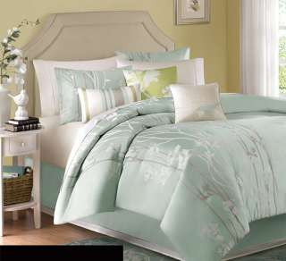 7pc Stunning Soft Blue/Grey/White Modern Floral Print Comforter Set