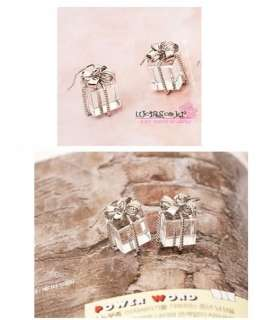 New Cute Crystal Bowknot Tie Gift Box Silver Earring