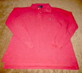 Boys Ralph Lauren long sleeve POLO shirt Pink / Salmon Sz M 12 / 14