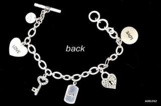 Gorgeous New LOIS HILL Sterling Silver Love Charm Bracelet