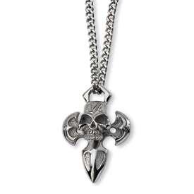 Chisel® Stainless Steel Cross & Skull Man 24 Necklace