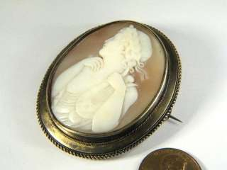 ANTIQUE 15K GOLD NATURAL CARVED SHELL CAMEO PIN BROOCH ORPHEUS LYRE