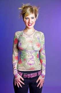 Damen Kostüm Pullover Shirt Blumen Tattoo Karneval Größe 36/38