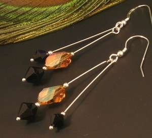 925 SILVER LONG COPPER BLACK SWAROVSKI CRYSTAL EARRINGS