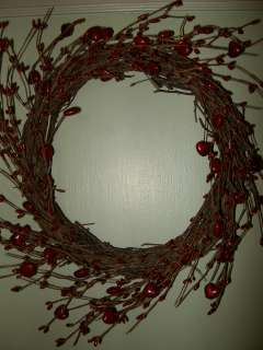 Country Grapevine Pip BERRY HEART WREATH Valentines Day RED HEARTS
