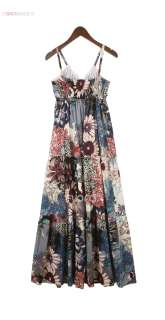 Strap Boho Cotton Blue Flower Print V Neck Long Womens Maxi Dress C32Z