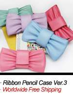 Cosmetic Case Makeup Bag Pouch_RIBBON PENCIL CASE VER.2