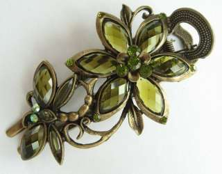 SWAROVSKI CRYSTAL BIG DRAGONFLY FLOWER HAIR BARRETTE CLIP 1552