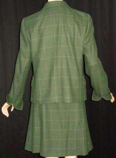 AKRIS PUNTO Olive Green Gold Windowpane Check Skirt Suit Jacket Skirt