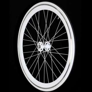 Fixie Single Speed Road Bike Track Wheel Wheelset Deep V + Tyres White